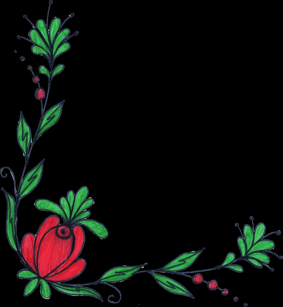 943x1024 5 Flower Corner Drawing (Png Transparent)
