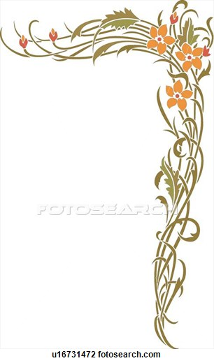 306x520 Flower Corner Design Ornament Kalem Corner