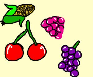 300x250 Cherry, Rasberry, Grape, And Cornstalk