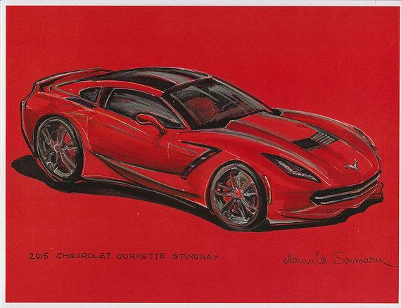 570x438 2015 Chevrolet Corvette Stingray Drawing Muscle Car