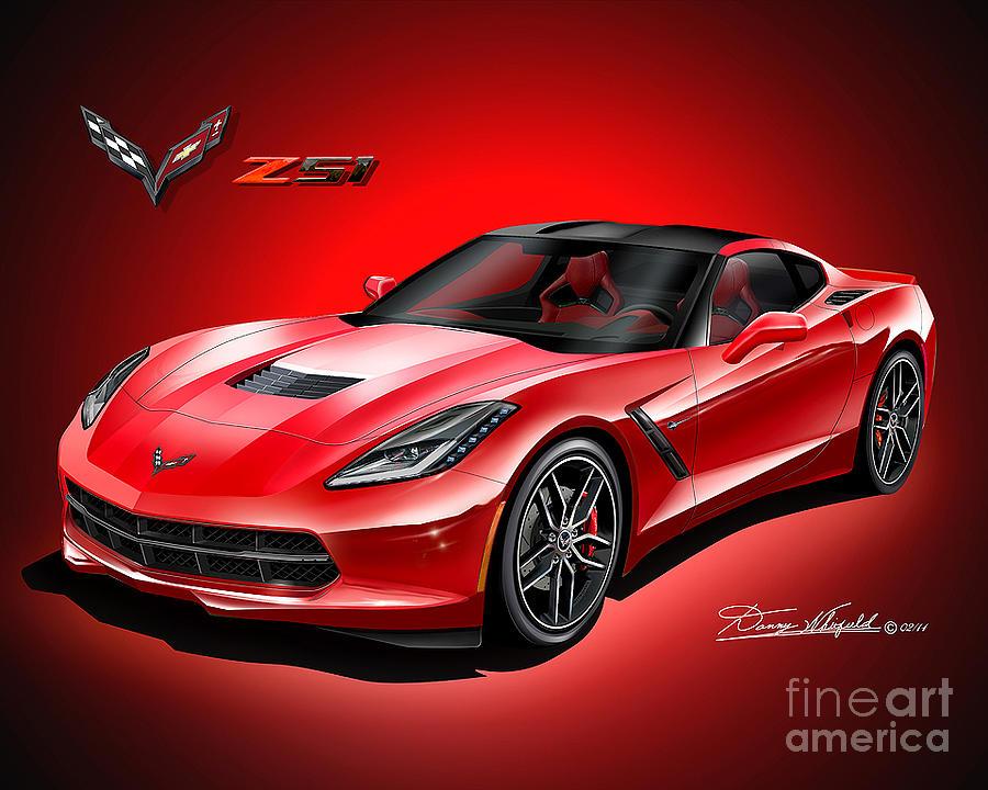 900x720 2015 Corvette Stingray Z51 Drawing By Danny Whitfield