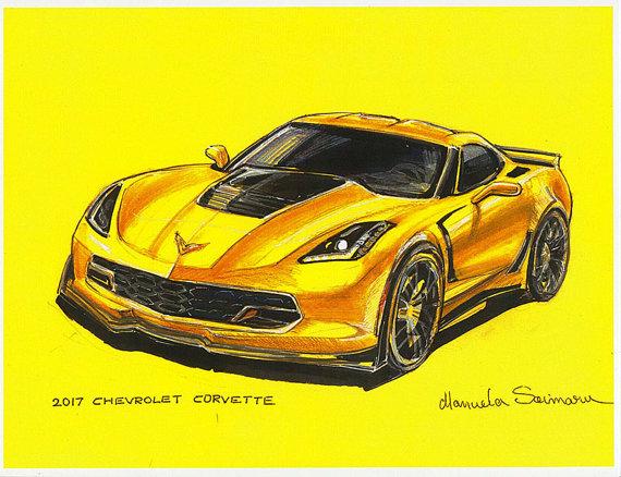 570x438 Chevrolet Corvette Drawing Muscle Car Illustration Print Car