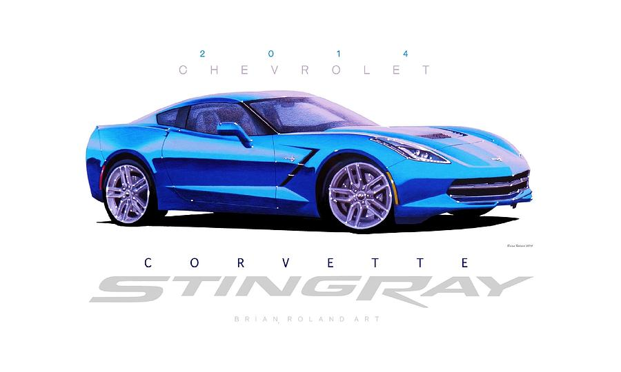 900x540 Chevrolet Corvette Stingray In Blue Drawing By Brian Roland