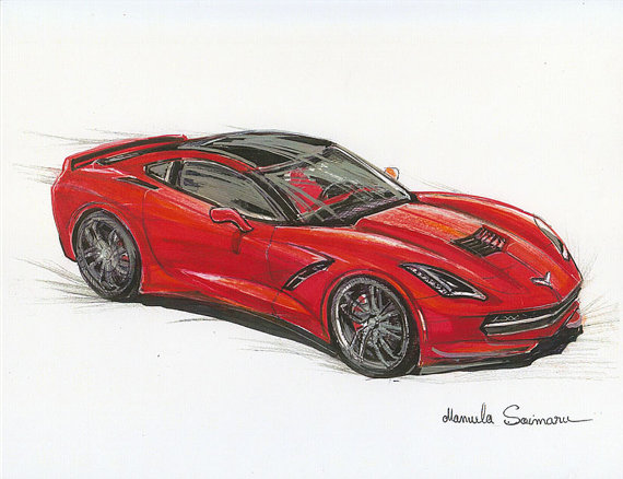 570x438 Chevrolet Stingray Painting Muscle Car Drawing Print Car