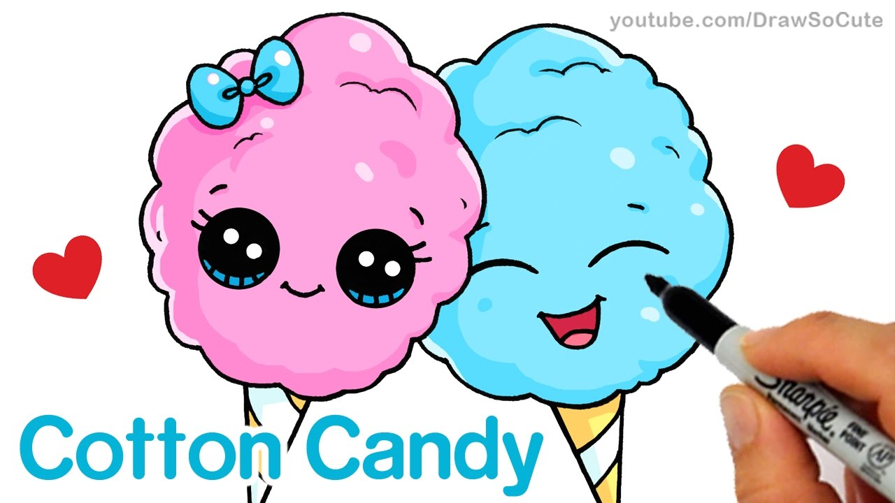 1280x720 How To Draw Cotton Candy Easy Cartoon Food