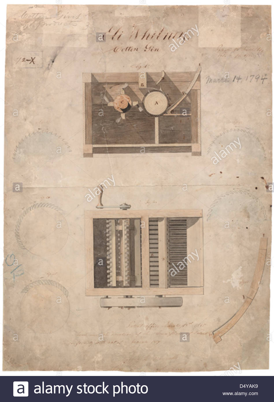 948x1390 Eli Whitney's Cotton Gin Patent Drawing, 03141794, Page 1 Stock
