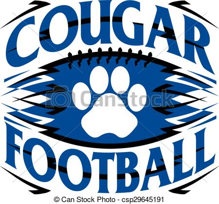 450x420 Cougar Football Design With Paw Print Inside Graphic Eps