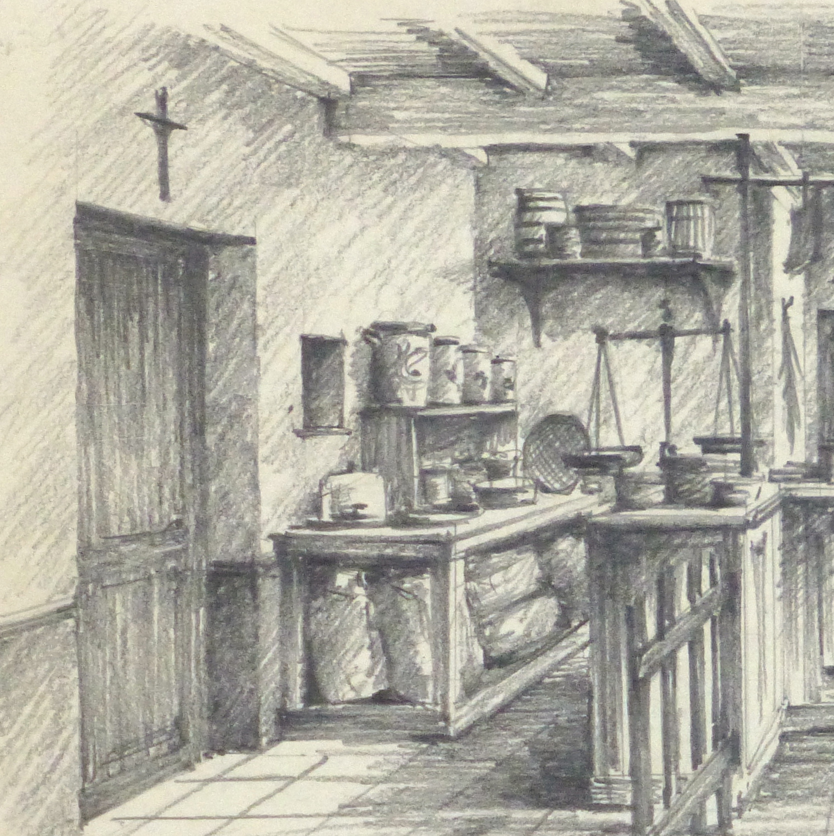 1668x1672 Pencil Drawing Country Store, Circa 1950