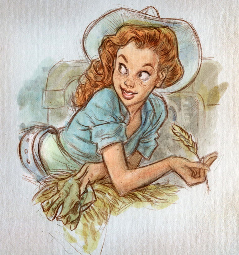 762x811 Country Girl Illustration, Drawing Ragazza Di Campagna