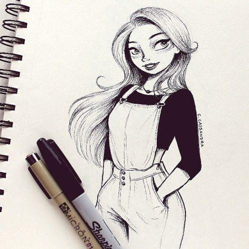 500x500 Ink Girl Cassandra Calin Art Girls, Draw And Sketches