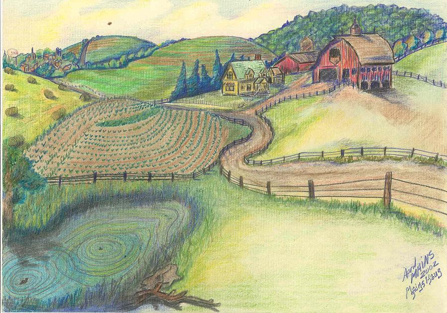 900x630 Countryside Homestead Drawing By April Mains