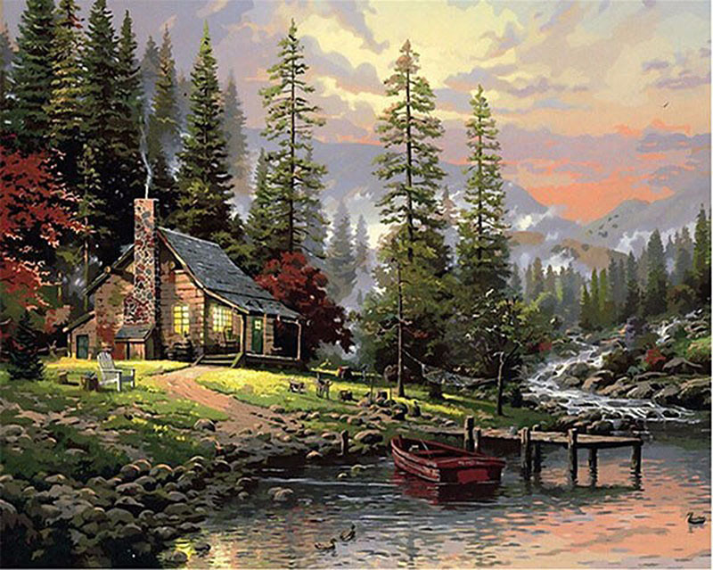 800x639 Countryside River House Diy Painting By Numbers Hand Painted Oil