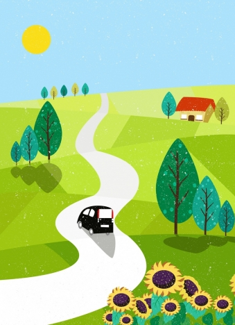 339x468 Countryside Drawing Green Hill Pathway Flowers Tree Icons Vectors