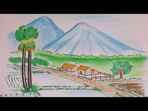 480x360 How To Draw A Beautiful Countryside View With Mountain Scenery