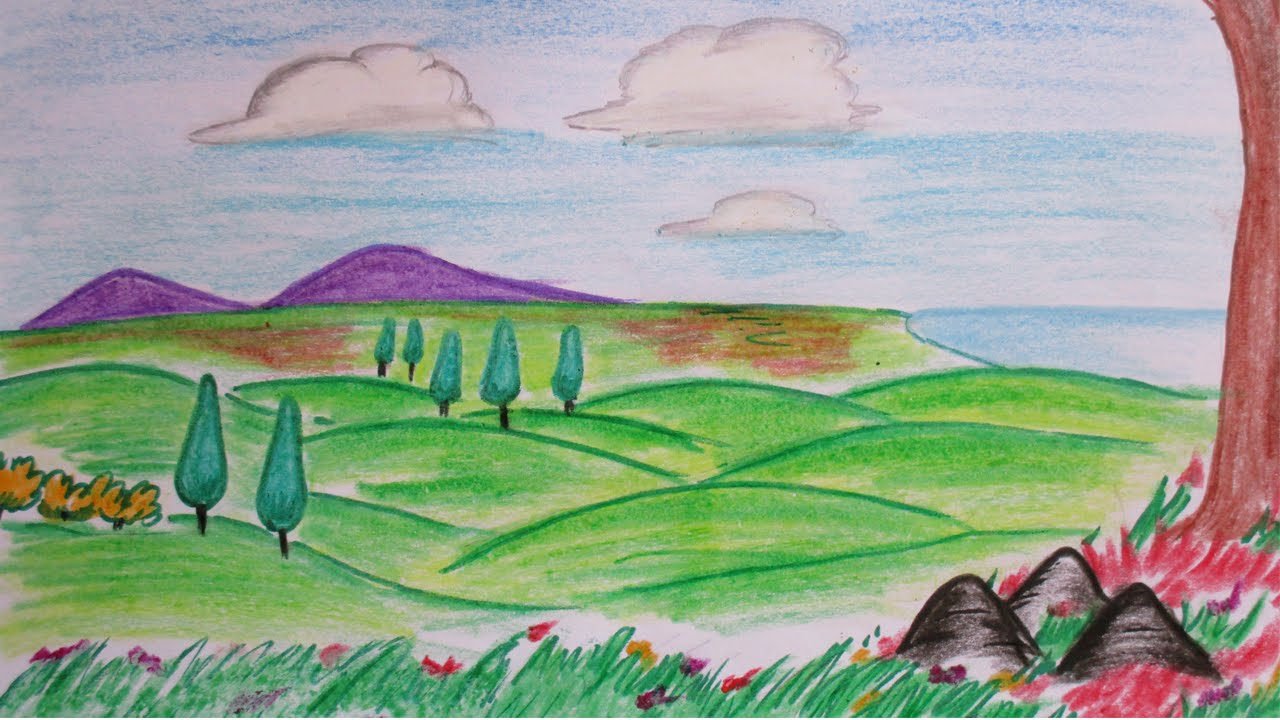 1280x720 How To Draw Hillside From Distance A Colorful Landscape Scene