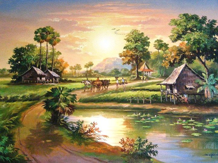 720x541 Khmer Countryside Painting Beautiful Drawing
