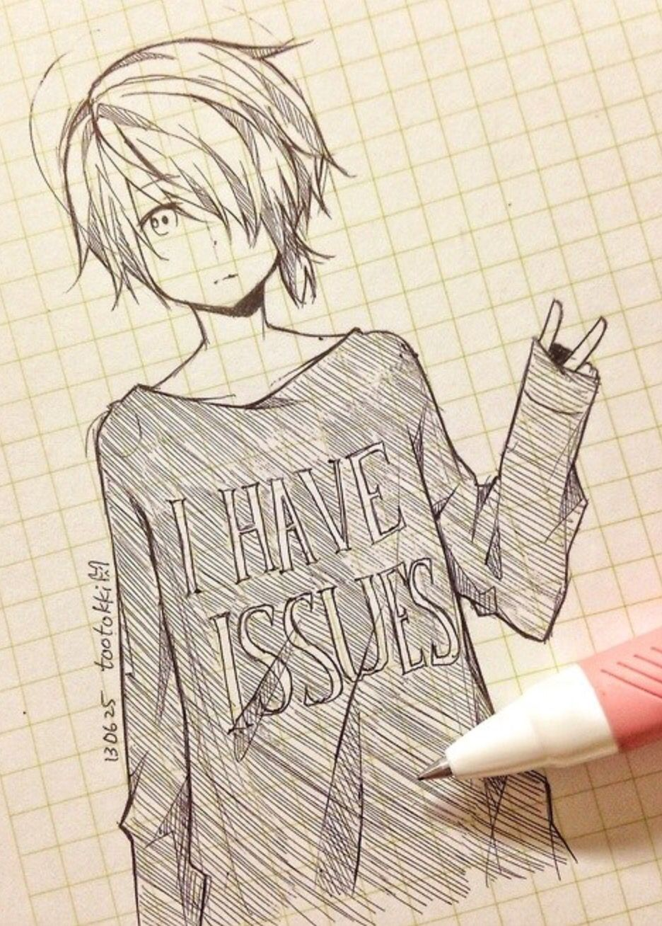 936x1308 Cute Anime Drawing Tootokki I Have Issues Sweater Anime Drawings