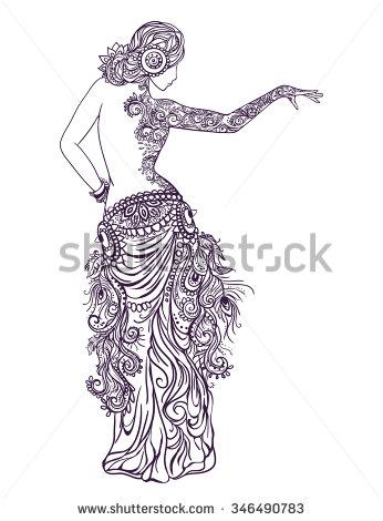 346x470 Ornament Beautiful Card With Girl Belly Dance. Mehenidi Element