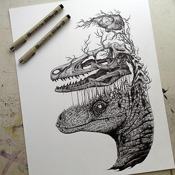 605x605 Animals Leave Their Skeletons Behind In Stunning Dark Drawings By