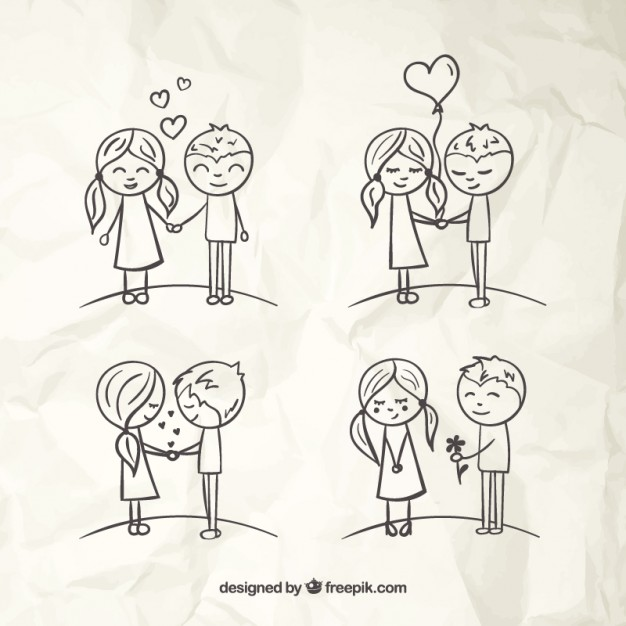 626x626 Love Couples Sketches Vector Free Download