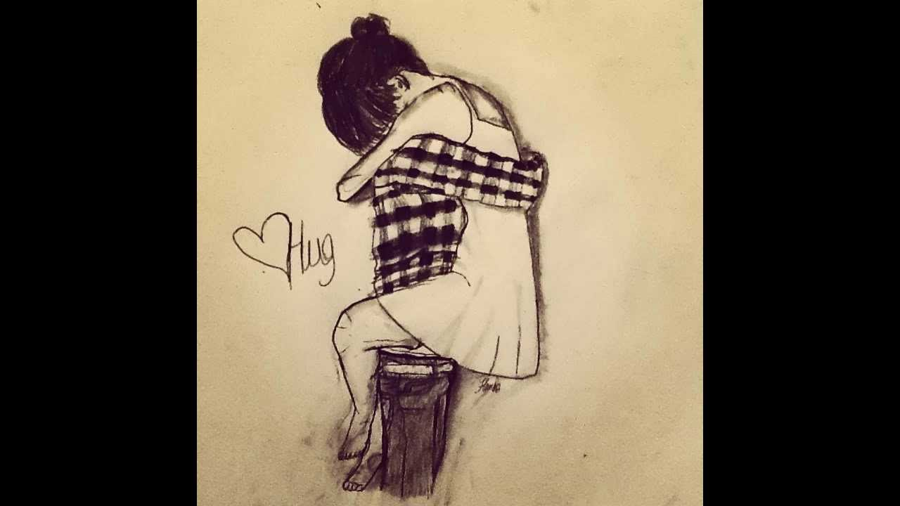 1280x720 Couple Hugging Drawing