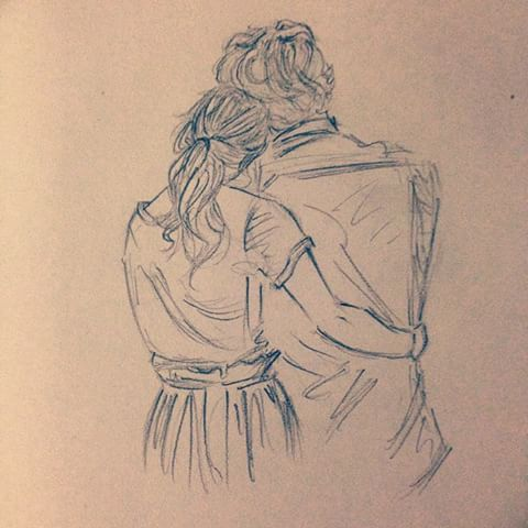 480x480 Photos Hugging Couple Pencil Sketch,
