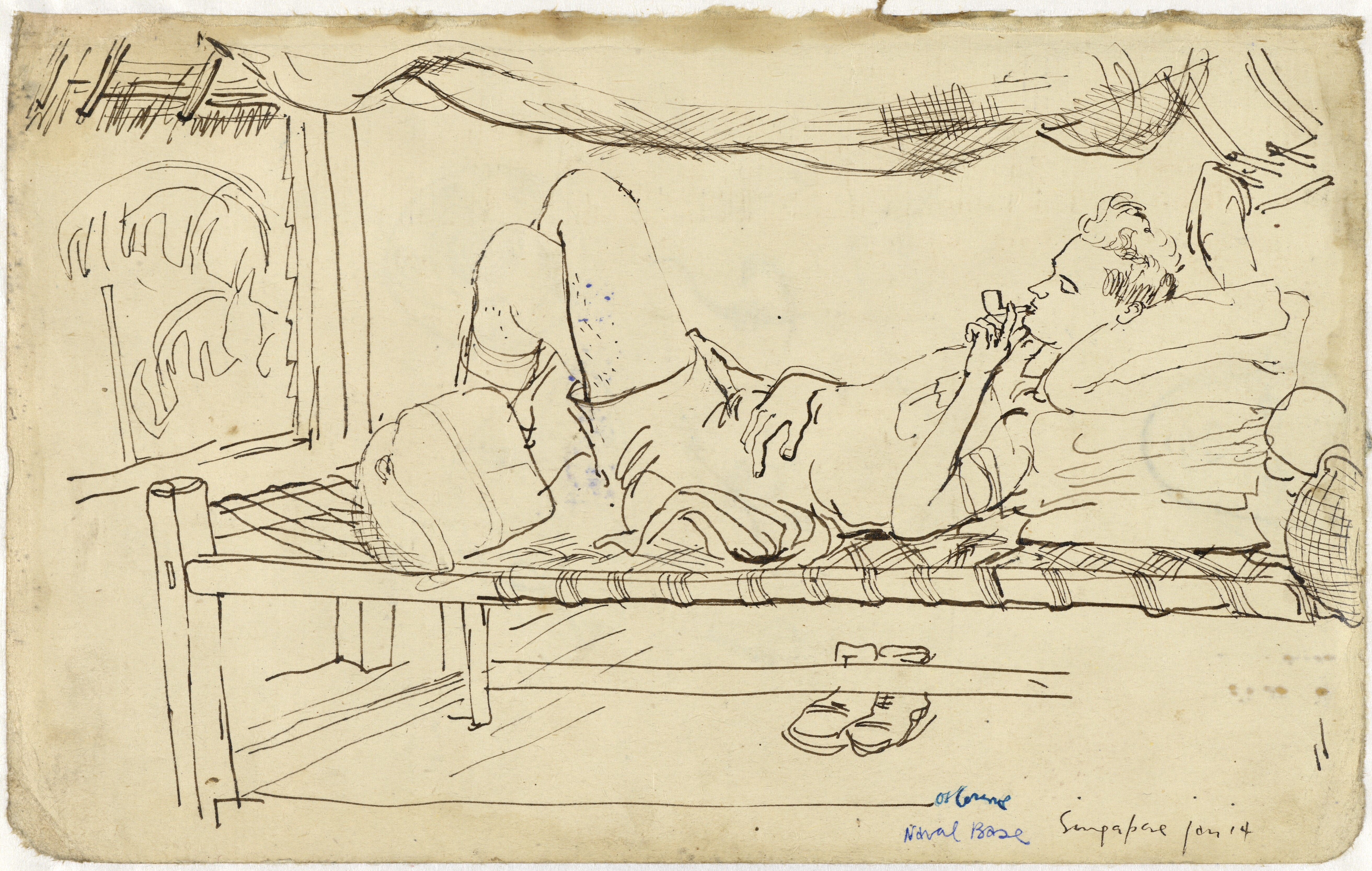 5250x3332 Filesoldier Lying On A Bed, Drawing By Searle. Art.iwmart15746a1