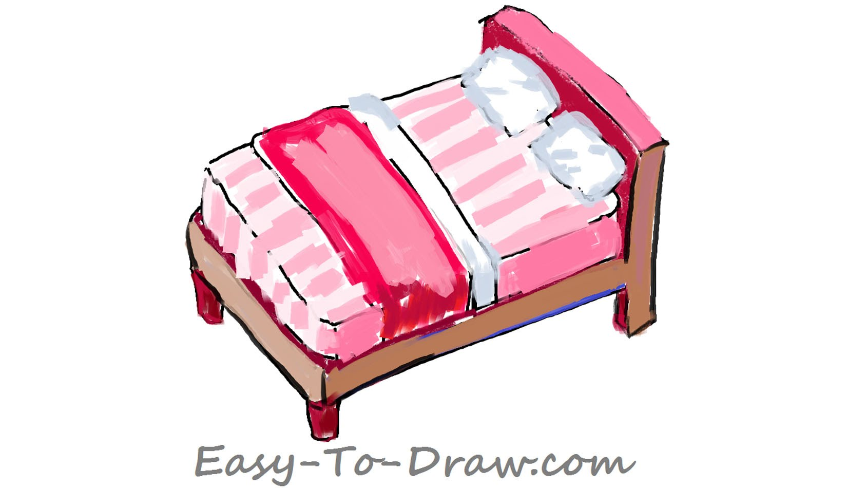 1687x950 How To Draw A Cartoon Pink Bed With Pillows