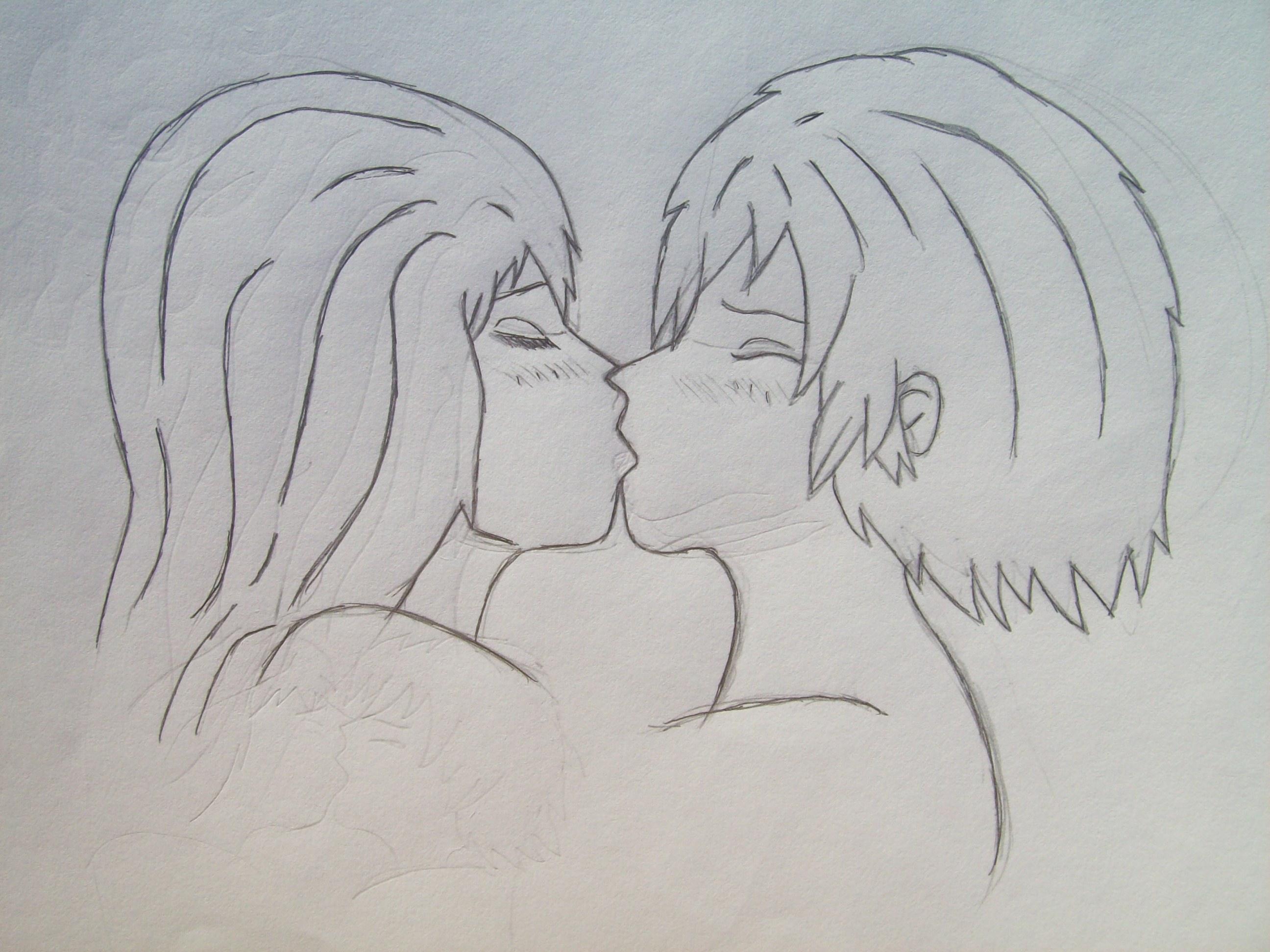 2592x1944 Boy Girl Kissing Pencil Sketch Hd Wallpaper Boy And Girl Kissing