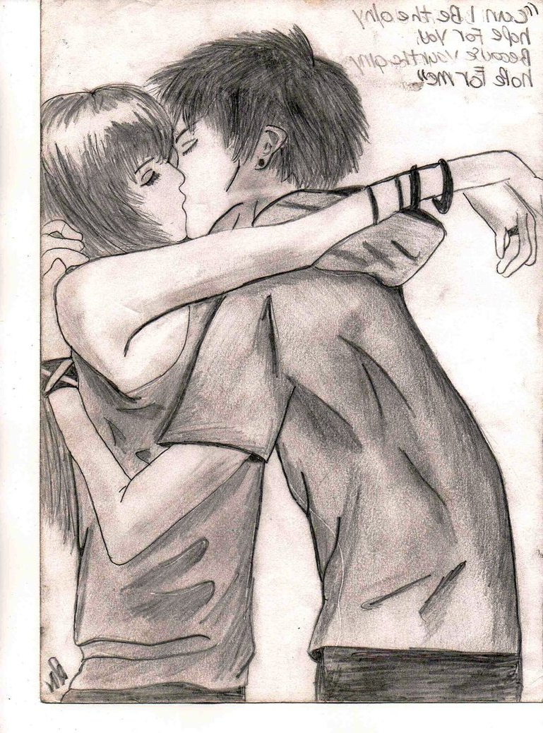 769x1039 Hd Cute Boy And Girl Kissing Sketch Drawings And Sketches Of Cute