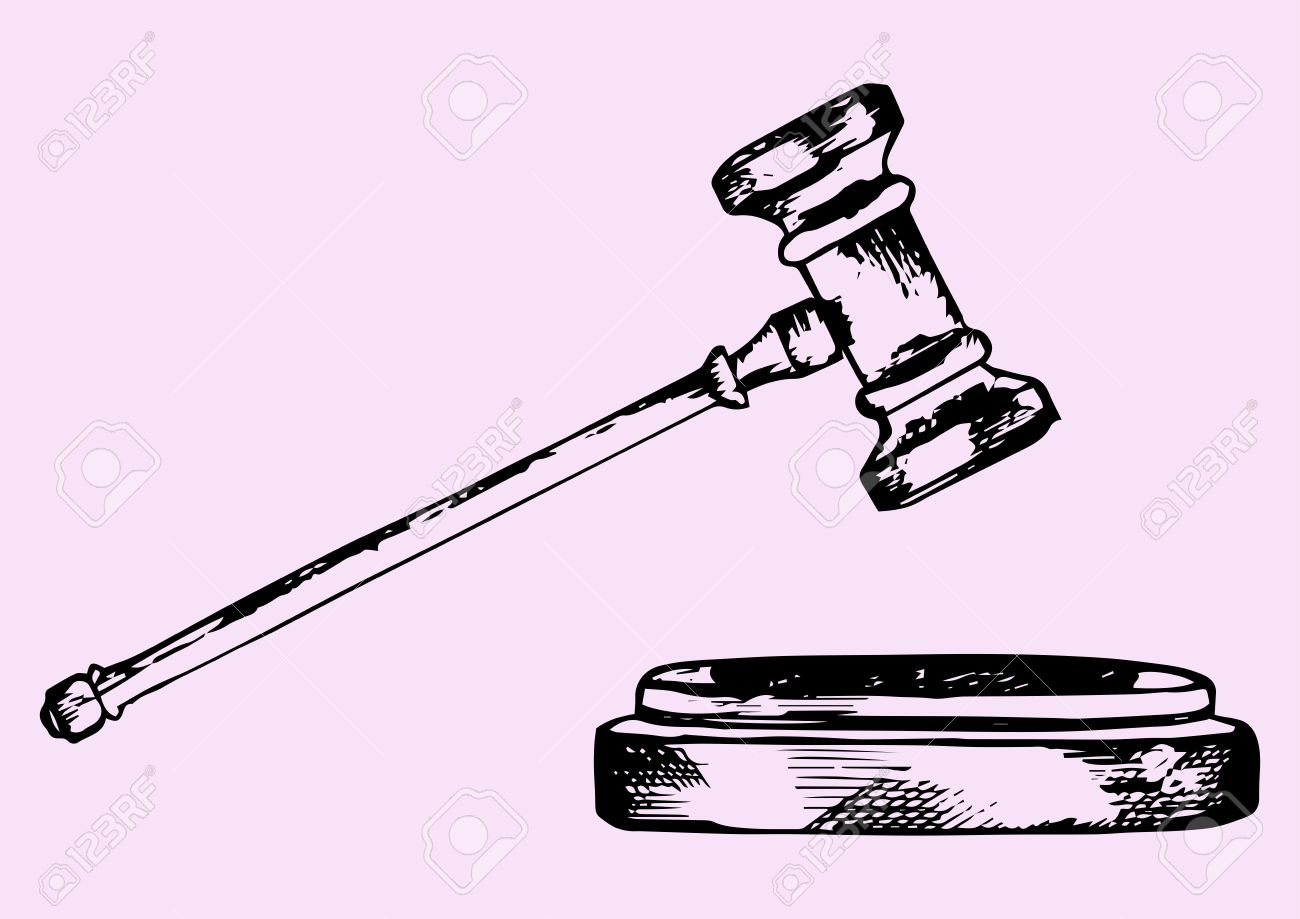 1300x919 Judge Gavel, Doodle Style, Sketch Illustration Royalty Free