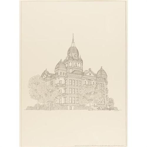500x500 L.b. Isleib Drawing Of Denton County Courthouse