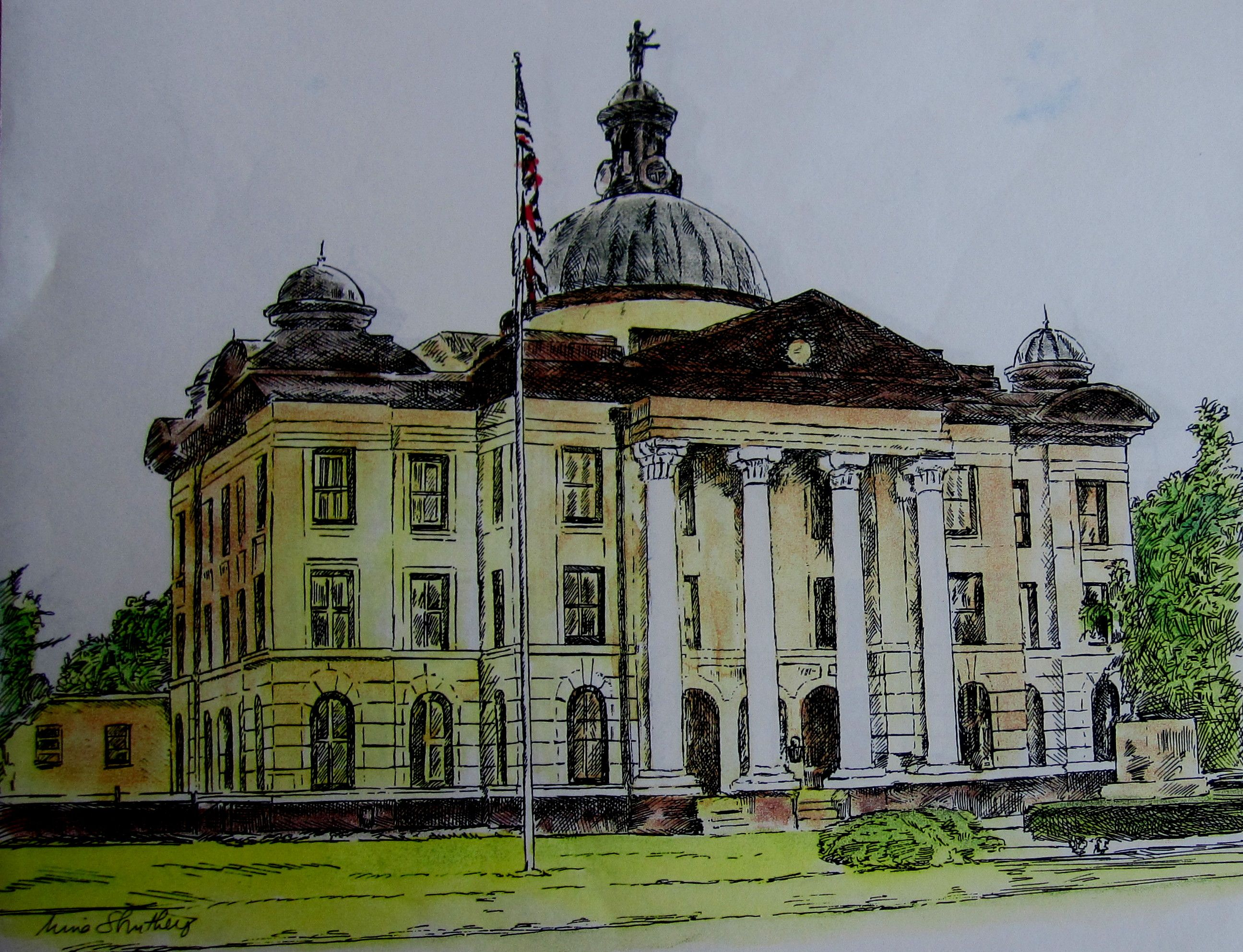 2591x1985 Richmond Courthouse, Fort Bend County. A Drawing By Nina Struthers