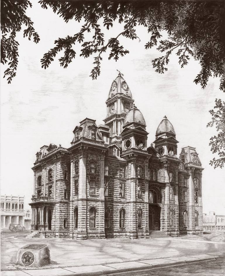770x942 Saatchi Art Caldwell County Courthouse Drawing By Norman Bean