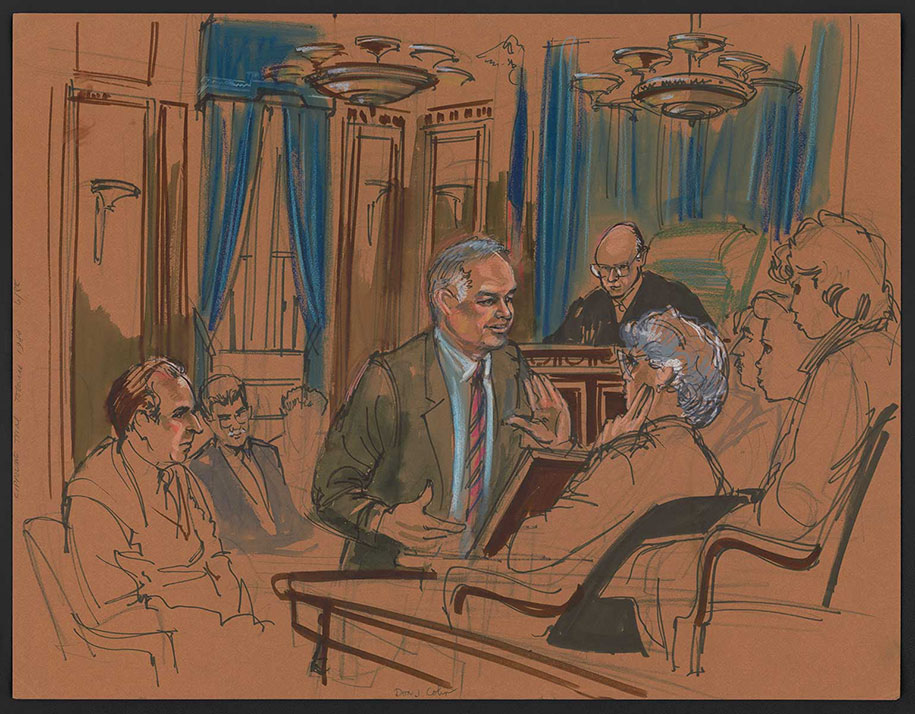 915x714 Rare Courtroom Sketches From Most Infamous Trials Where No