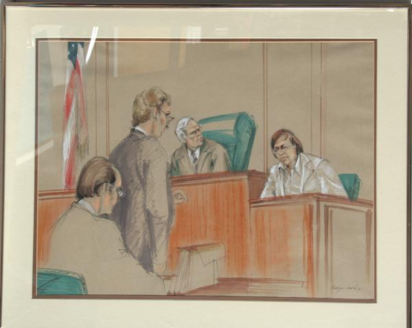 600x477 Marilyn Church, Courtroom Drawing 1, Ink And Pastel Drawing