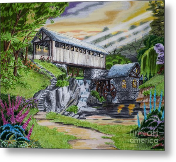 600x552 Covered Bridge Drawing By Robert Thornton