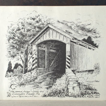 354x354 Covered Bridge Pen And Ink Print, From 2ndhandchicc On Etsy