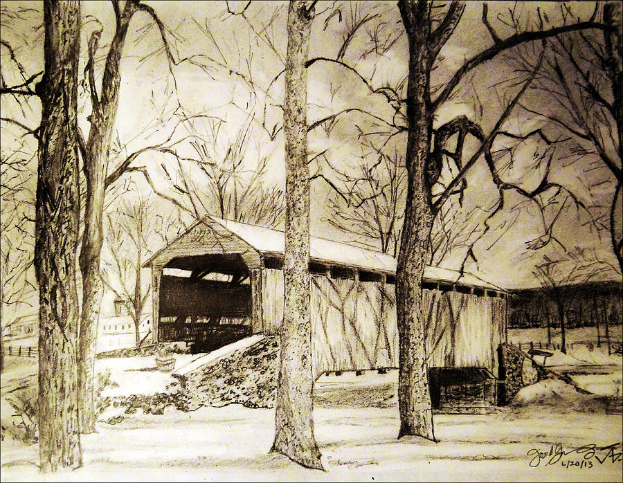 900x698 Lancaster Covered Bridge In Winter Drawing By Jose A Gonzalez Jr