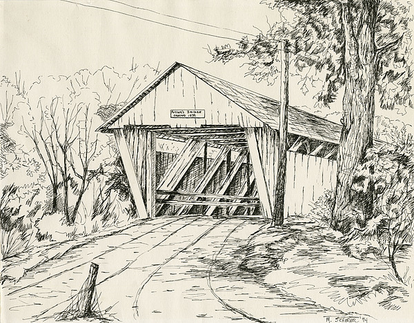 600x468 Potter's Covered Bridge Drawing By Michael Scherer