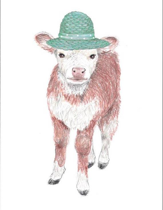 570x737 Cow Printwhimsical Cowwhimsical Calfnursery Artart