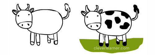 500x179 Step By Step Drawing Of A Cow