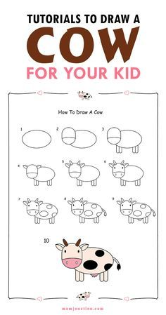 236x449 2 Easy Tutorials On How To Draw A Cow For Kids Cow, Tutorials