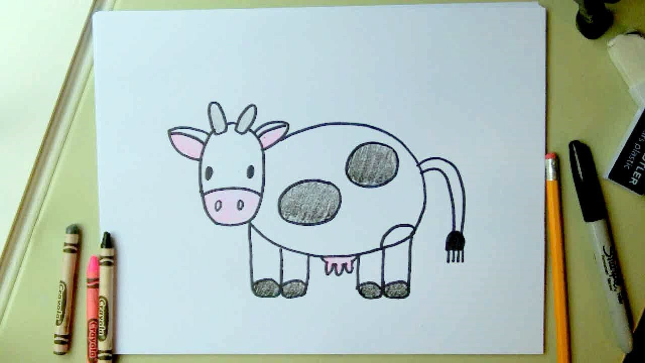 1280x720 How To Draw A Cow, Step By Step For Kids Easy