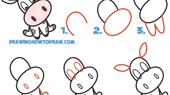 570x320 Simple Drawing Of Cow How To Draw A Cute Cartoon Kawaii Cow Word