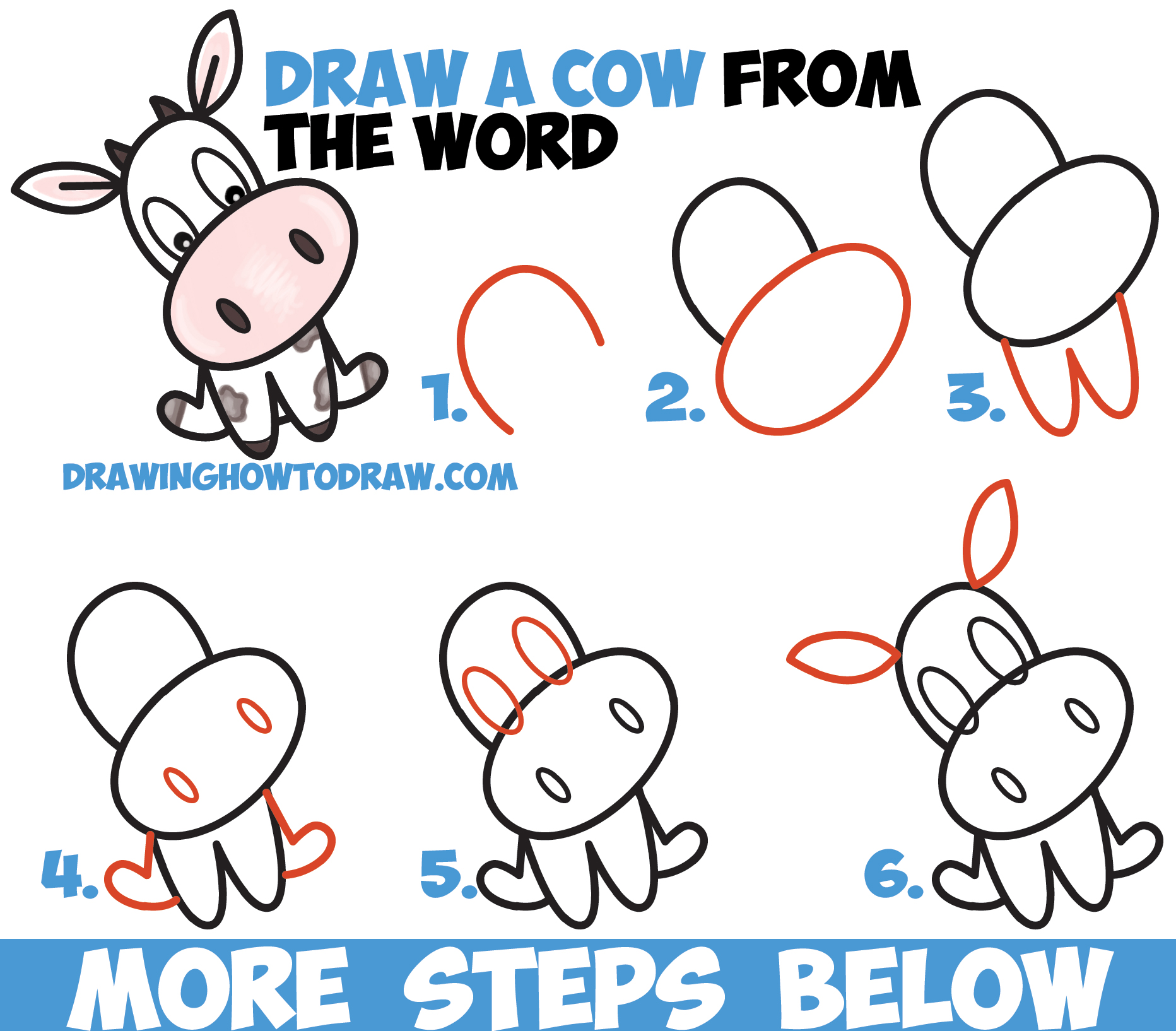 how to draw a cow for kids step by step