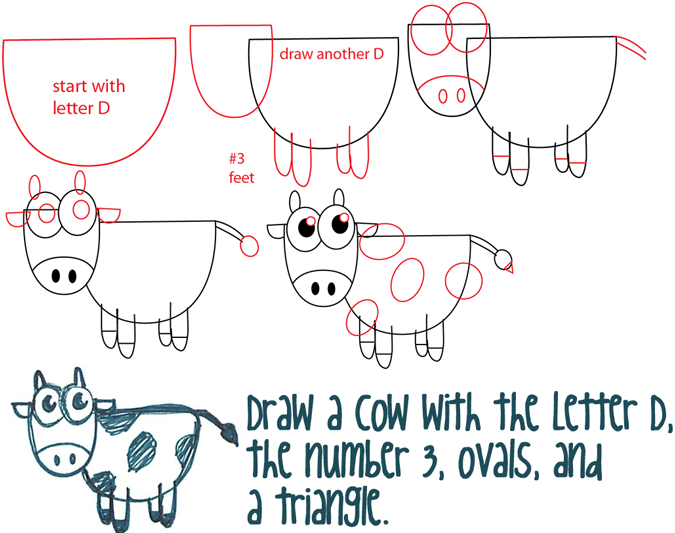 675x533 Big Guide To Drawing Cartoon Cows With Basic Shapes For Kids