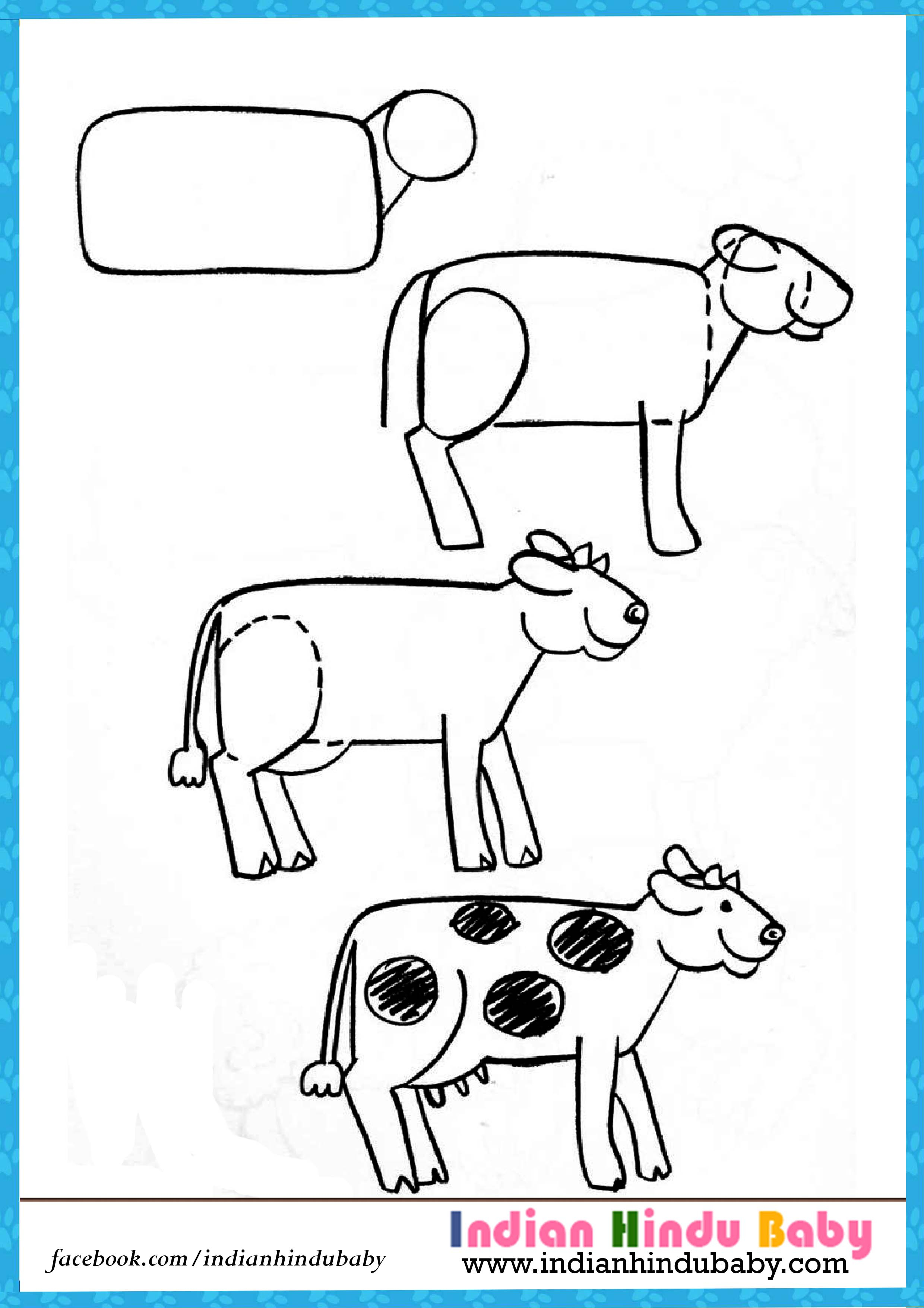 2480x3508 Simple Drawing Of Cow Teach Your Kid To Draw Cow With Simple
