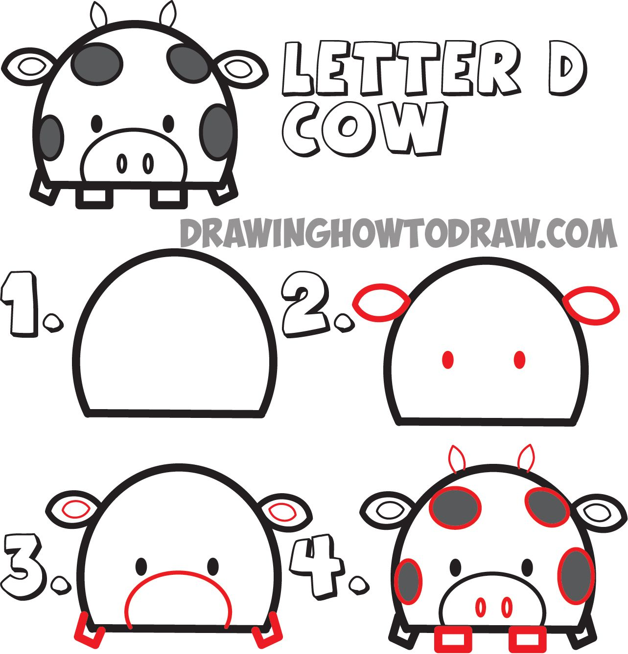 Cow Drawing Step By Step at GetDrawings com | Free for personal use