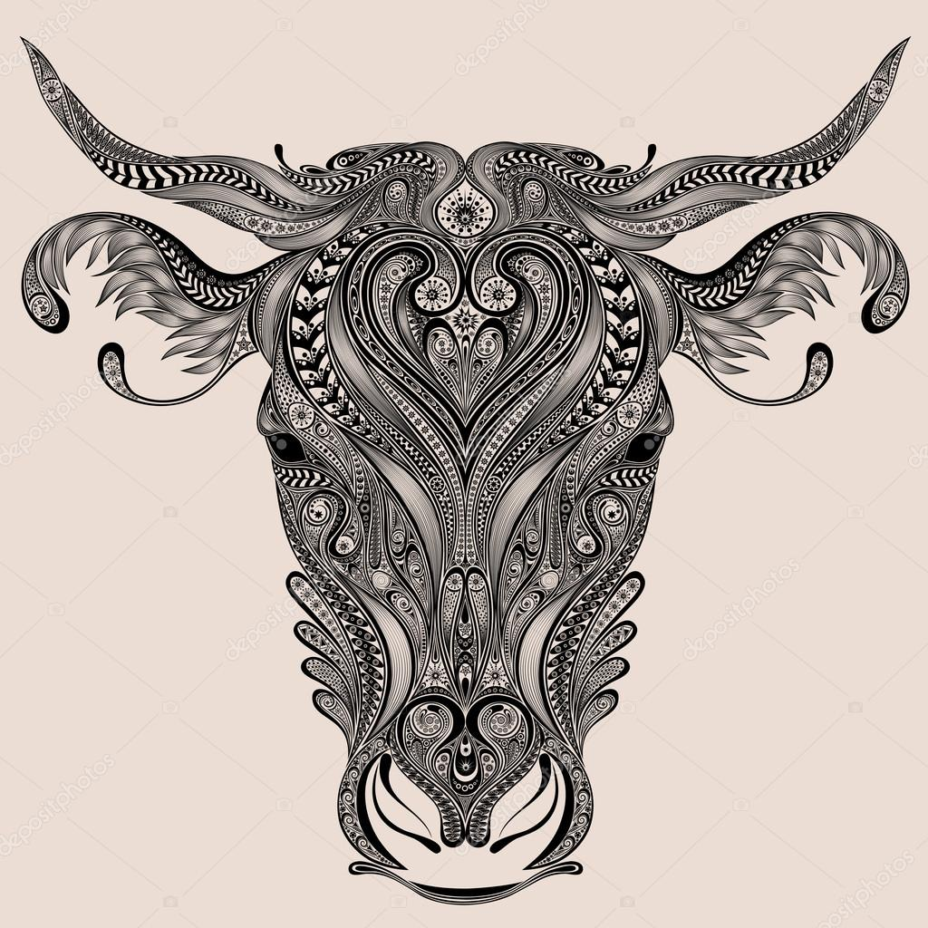 1024x1024 Cow Head Vector From Abstract Patterns Stock Vector Shtefan